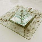 Zimmerbrunnen mit eingeschmolzenen Metallen, 33 x 33 cm