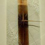 Wanduhr 35x20 cm weiß-braun, Gold