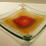 Glasschalen Biegeform 20x20 cm, Gold oder Silberecken