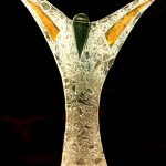 """Kerzenleuchter """"Engel"""" gebogenes und strukturiertes Glas"""
