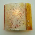 """Wandleuchte """"Juno"""" 25x25 cm, gebogenes und strukturiertes Glas, Gold"""