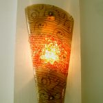 """Wandleuchte """"Junit"""" 48x24cm, gebogenes und strukturiertes Glas, E27"""